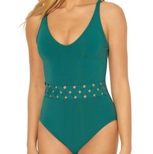 Teal Basketweave One Piece Bathing Suit